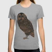 Heaton Owl Womens Fitted Tee Athletic Grey SMALL