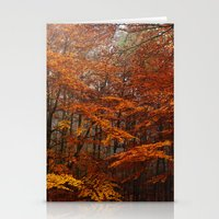 Orange Leaves Trees Fore… Stationery Cards