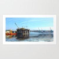 Oil Rig Seascape Art Print