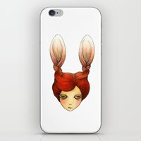 the girl with rabbit hair iPhone & iPod Skin