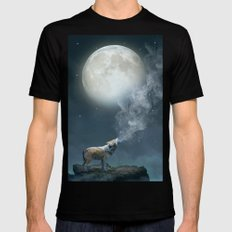 The Light of Starry Dreams (Wolf Moon) SMALL Black Mens Fitted Tee