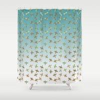 Mint Gold Blue Watercolor Dragonflies Shower Curtain