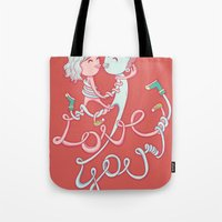 Tote Bag featuring intertwined love by ⓢⓘⓢⓢⓨⓟⓤⓝⓚⓨ
