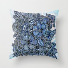 Flowers on blue.  Throw Pillow