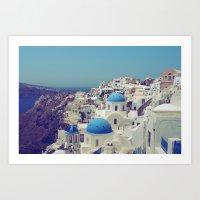 Blue Domes II, Oia, Sant… Art Print