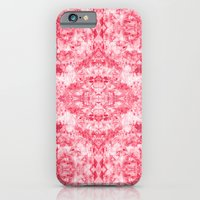iPhone Cases featuring Deep Coral, Pink, & Red Marbling Diamond Pattern  by TigaTiga Artworks