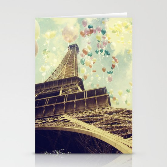 Paris is Flying Stationery Card