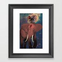 Astronaut And Elephant Framed Art Print