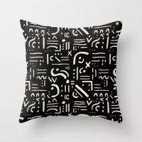 Heiroglyph In Black Throw Pillow