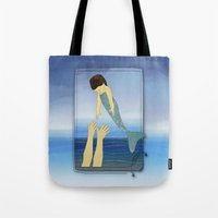 Triton tossing his mermaid daughter Tote Bag