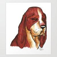 Brush Breeds-Basset Houn… Art Print