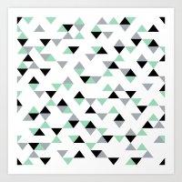 Triangles Mint Grey Art Print