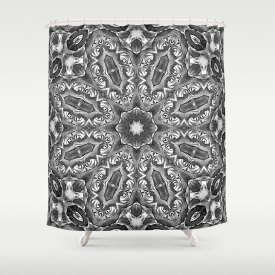 Black And White Floral Kaleidoscope Shower Curtain By Wendy Townrow Society6