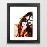 Kat mask Framed Art Print
