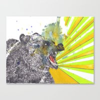 Roaring Bear Animal Watercolor Painting Canvas Print
