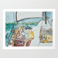 man and dog on sailboat Art Print