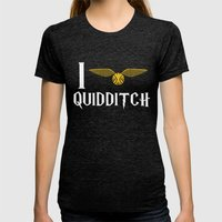 I love Quidditch Womens Fitted Tee Tri-Black SMALL