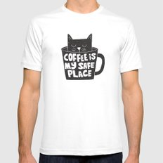 coffee is my safe place SMALL Mens Fitted Tee White