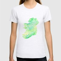 Typographic Ireland - Green Watercolor Womens Fitted Tee Ash Grey SMALL