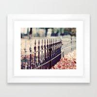 Autumn Fence Framed Art Print