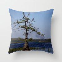 Cormorant Tree Throw Pillow