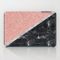 Faux Rose Glitter and Marble Pattern iPad Case