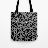 Abstract New White on Black Tote Bag