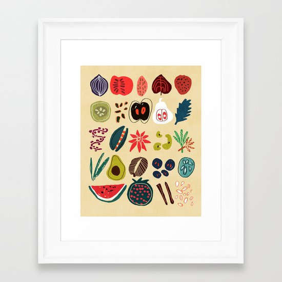 Fruit and Spice Rack Framed Art Print