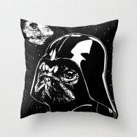 Pug Vader Throw Pillow