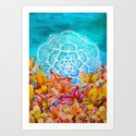 Orange Lilies & White Mandala on Blue Art Print