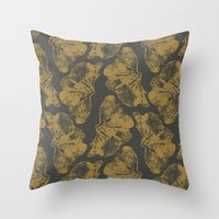 Ginkgo Fossils - Dark Throw Pillow