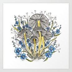 Blue Flowers and Mushrooms Art Print