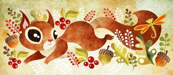 Playful Squirrel Art Print