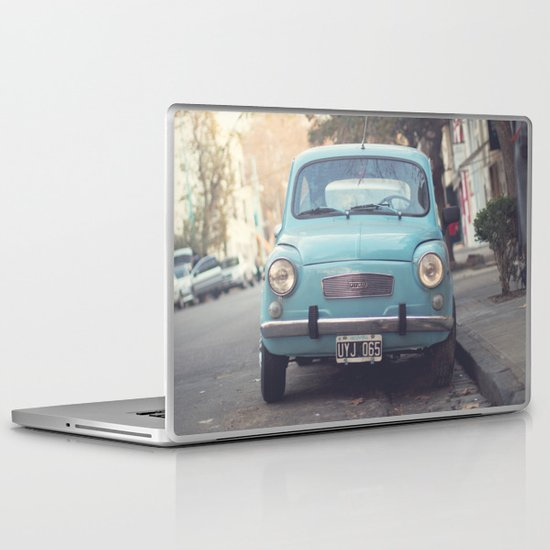 Mint - Blue Retro Fiat Car  Laptop & iPad Skin