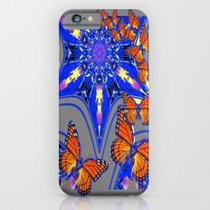 Modern Blue-grey Abstracted Monarch Butterflies Design Slim Case iPhone 6s