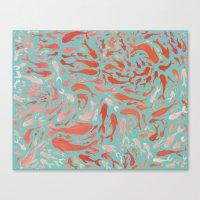 Koi - Coral & Turquoise Canvas Print