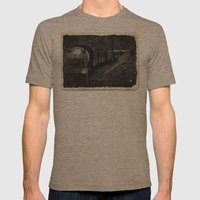 Spooky Train Mens Fitted Tee Tri-Coffee SMALL