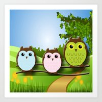 Country Owls Art Print