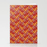 Flowers Red Pattern Stationery Cards