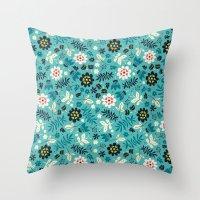 Fresh Blossoms (Greens) Throw Pillow