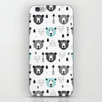 Geometric grizzly bear and arrows iPhone & iPod Skin