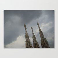 Three Statues On The Duo… Canvas Print