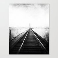 Rail Track through the Bay {Black and White} Canvas Print