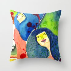 Moss and birds Throw Pillow