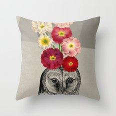 flower owl Throw Pillow