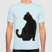 Halloween Black Cat Silhouette  Mens Fitted Tee Light Blue SMALL