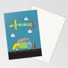 Car Plane Clouds Stationery Cards