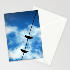 Birds on a Wire -- White clouds, blue sky Stationery Cards