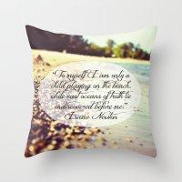 Isaac Newton Beach Quote Throw Pillow