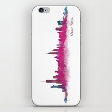 New York City Skyline Hq v05 Pink Violet iPhone & iPod Skin